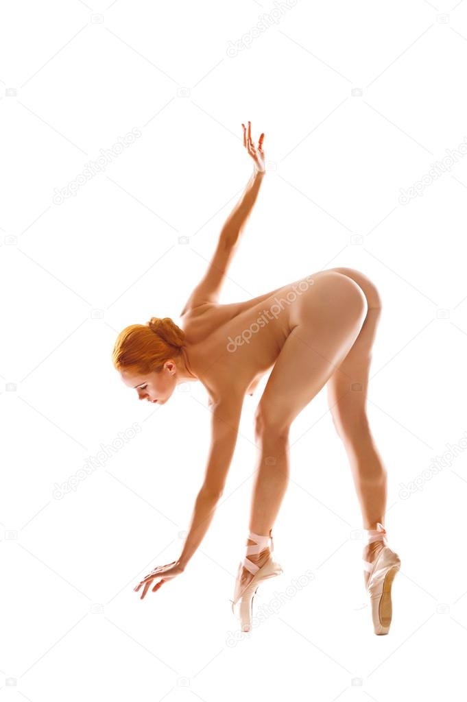 Ponytailed redhead dancing around completely naked, next to a swimming pool