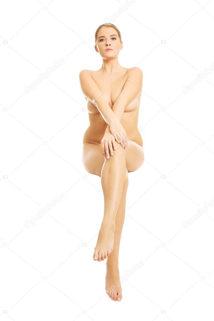 Mature crossed legs