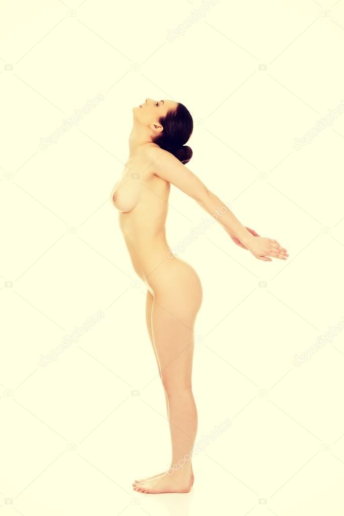 Side View Nude Woman Sitting Head Stock Photo